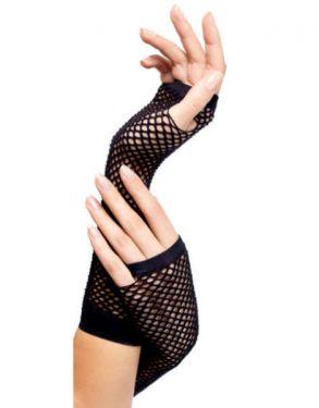 80s Fancy Dress Long Fishnet Gloves - Black